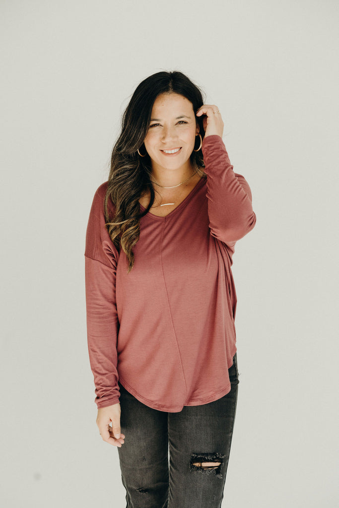 """Carter"" Everyday Long Sleeve, Merlot"