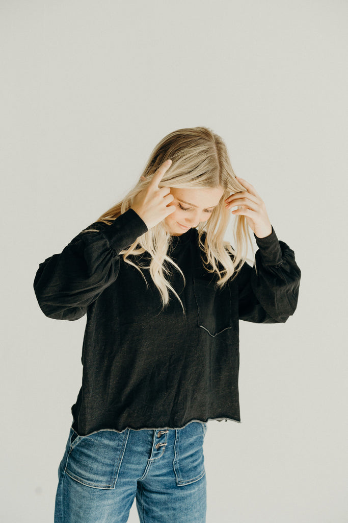 """Coast"" Relaxed Pullover, Black"