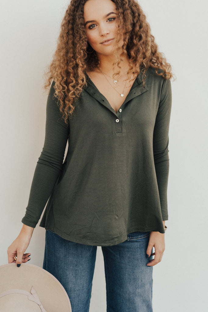 """Logan"" Button Long Sleeve, Olive"