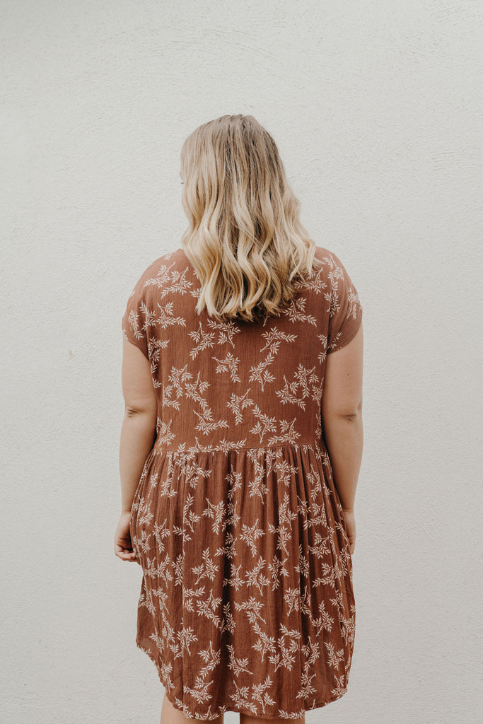 """Avery"" Sundress, Brown and Ivory"