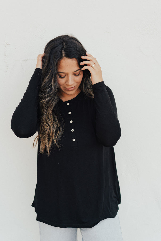 """Logan"" Button Long Sleeve, Black"