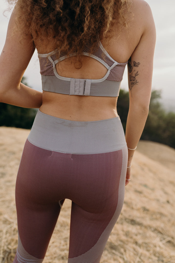 """Dakota"" Seamless Hybrid Sports Bra, Mauve"