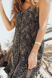"""Mila"" Button Sundress, Black and Taupe"