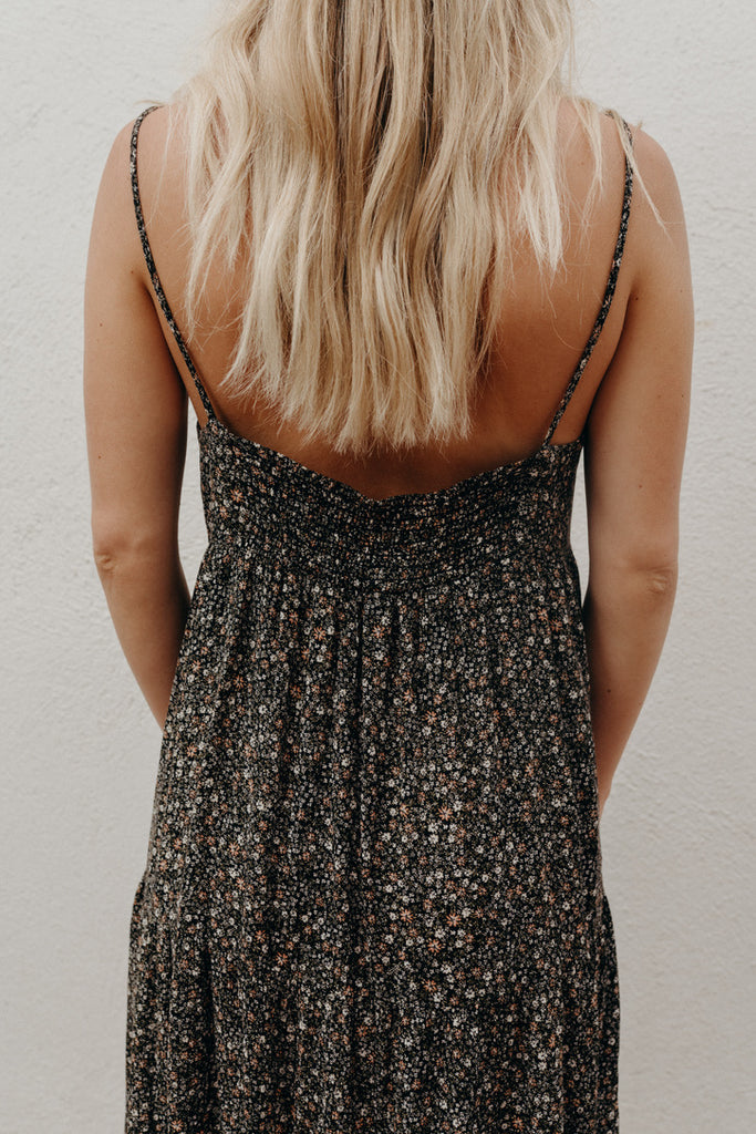 """Lauren"" Midi Cami Dress, Black Floral"