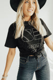 """85 Carly Jean"" Boyfriend Graphic Tee, Black"