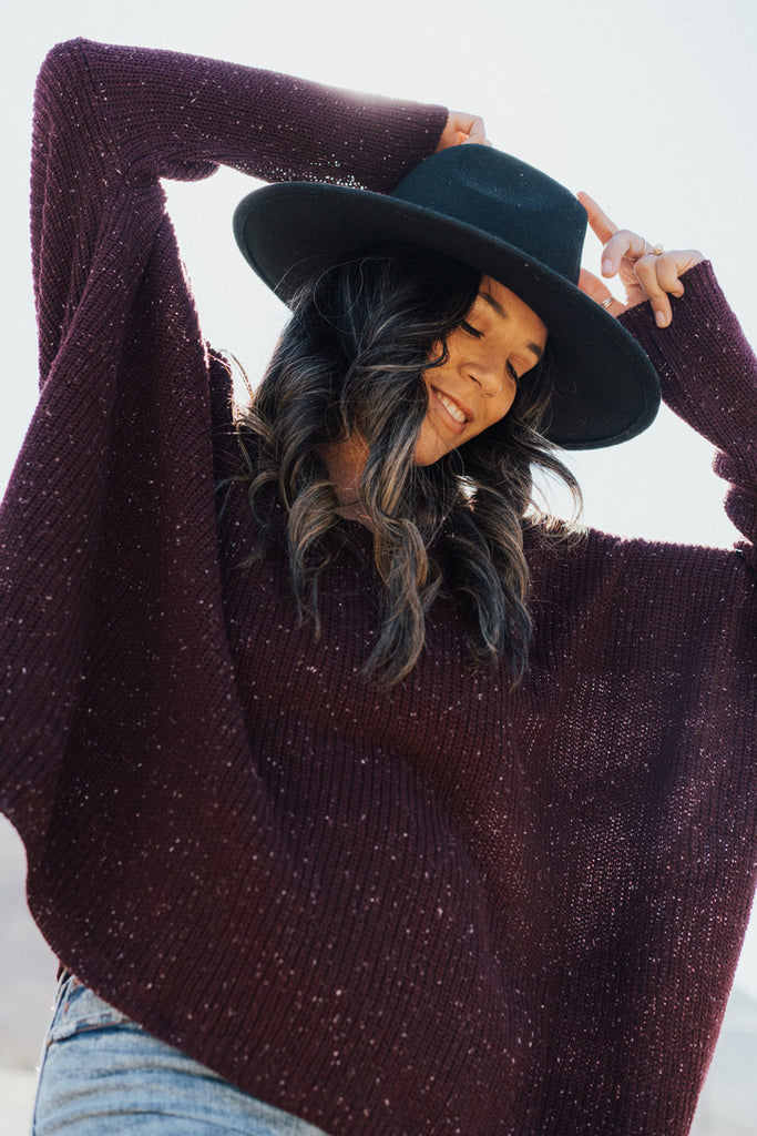 """Rhea"" Knit Oversized Sweater, Plum"
