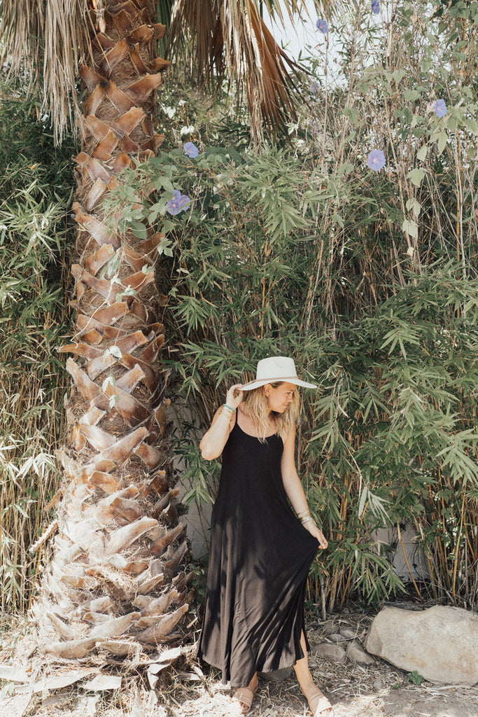 """Stella"" Straight Cut Maxi Dress, Black"