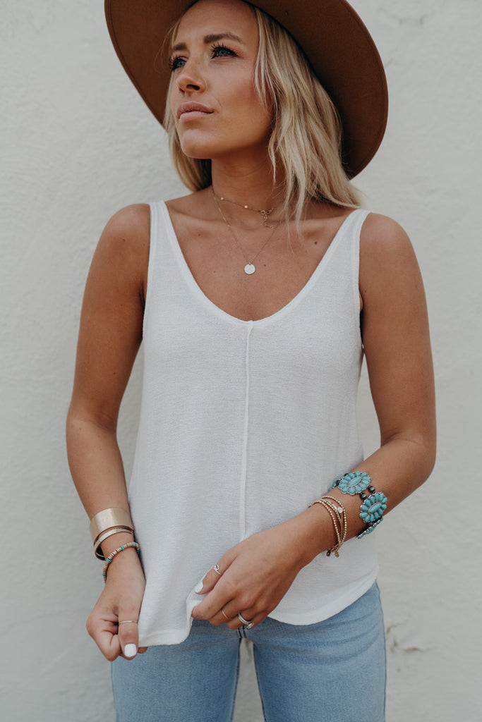 """Sawyer"" Textured Knit Tank, White"