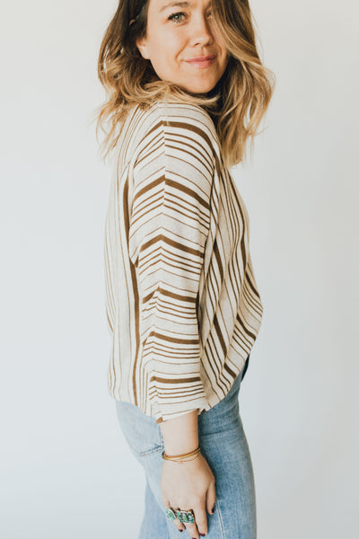 """Kamryn"" Long Sleeve, Taupe and Ivory"