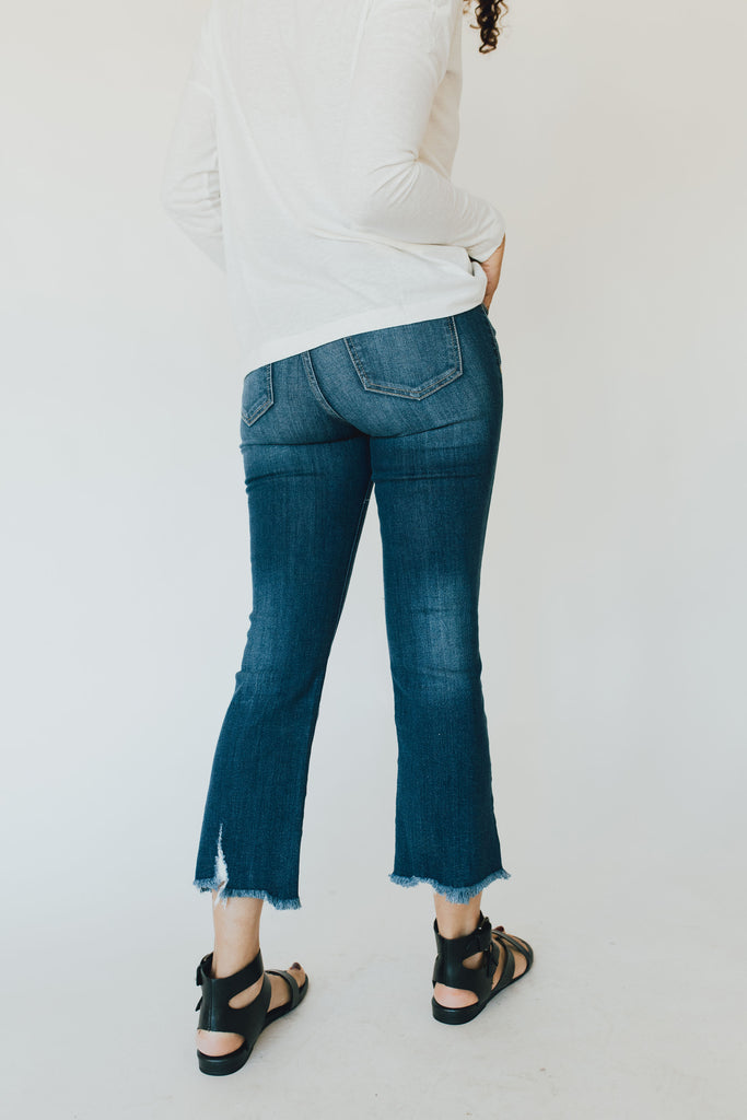 """Jayce"" Cropped Boot Cut Jeans, Dark Wash"