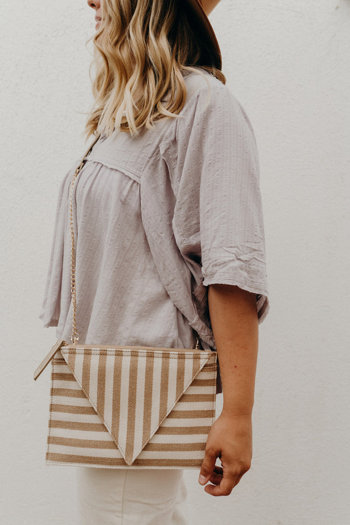 """Valley"" Crossbody Purse, Tan and Ivory"