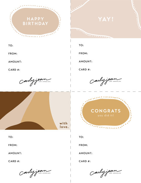 Carly Jean's Gift Card Template