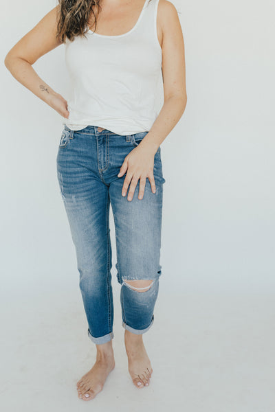 """Devon"" Boyfriend Jeans, Dark Wash"