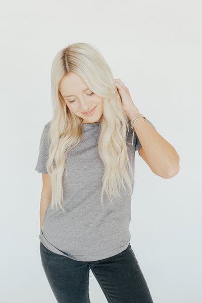 """Teagan"" Tee, Charcoal Navy"