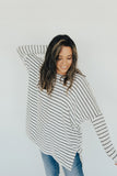 """Evelyn"" Ribbed Sweater, Black and Ivory"