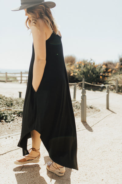 """Stella"" Spaghetti Strap Dress, Black"