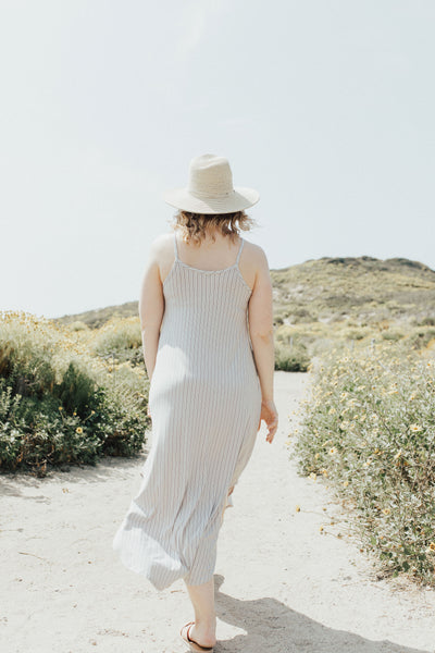 """Stella"" Spaghetti Strap Dress, Stone Stripes"