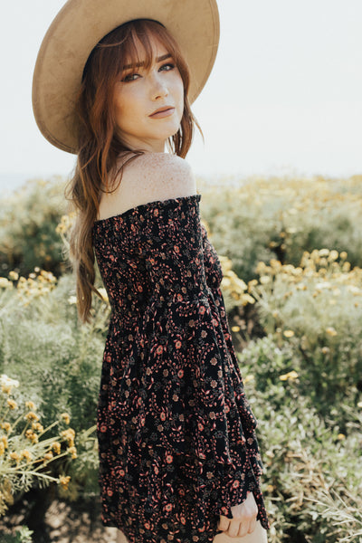 """Elsie"" Boho Sun Dress, Black Floral"