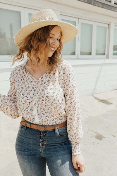 """Alana"" Blouse, Ivory Floral"