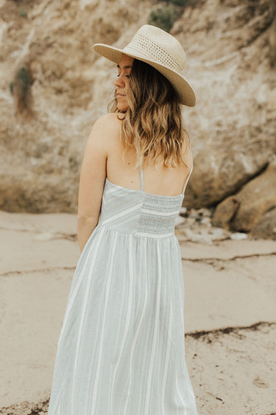 """Savanah"" Midi Dress, Blue and Ivory"
