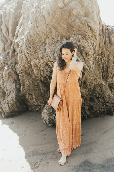 """Jolene"" Maxi Dress, Rust Print"