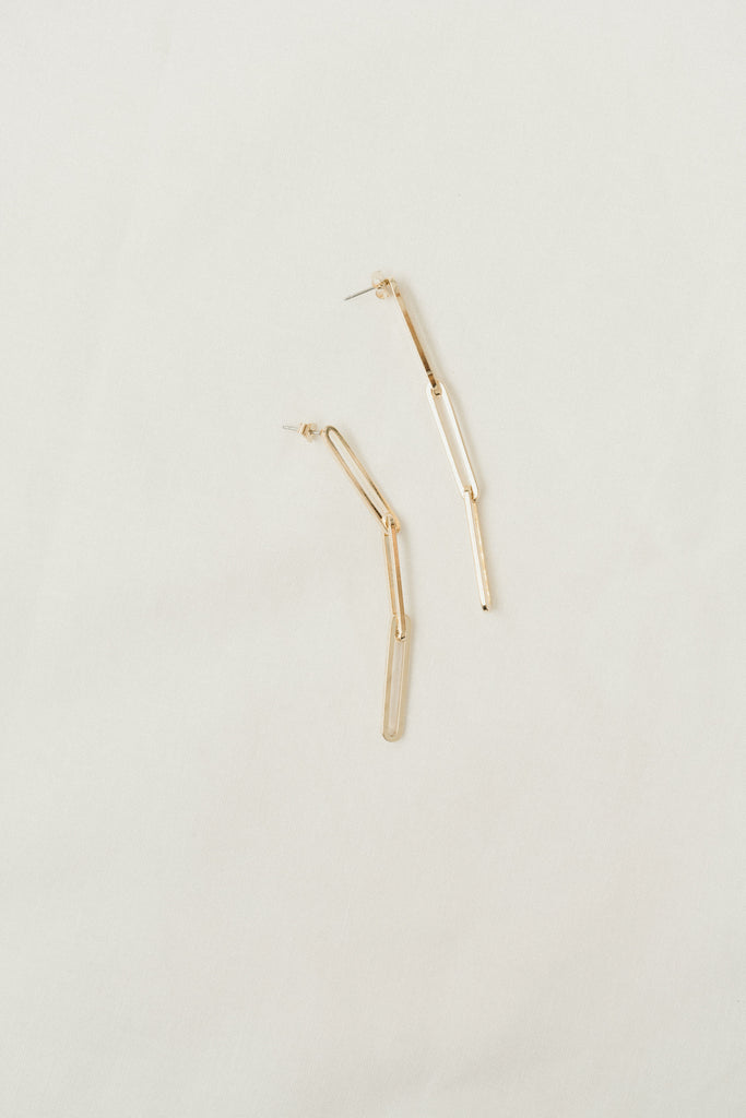 Jamie Chain Earrings, Gold