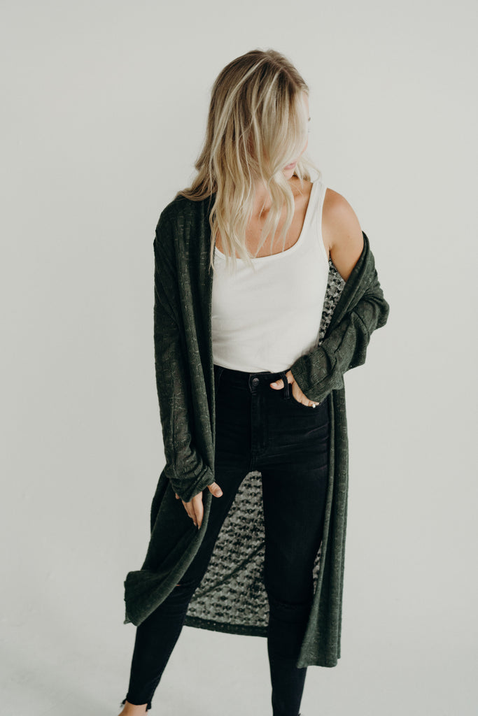 Leighton Knit Cardigan, Forest Green