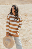 """James"" Oversized Pullover, Camel and White"
