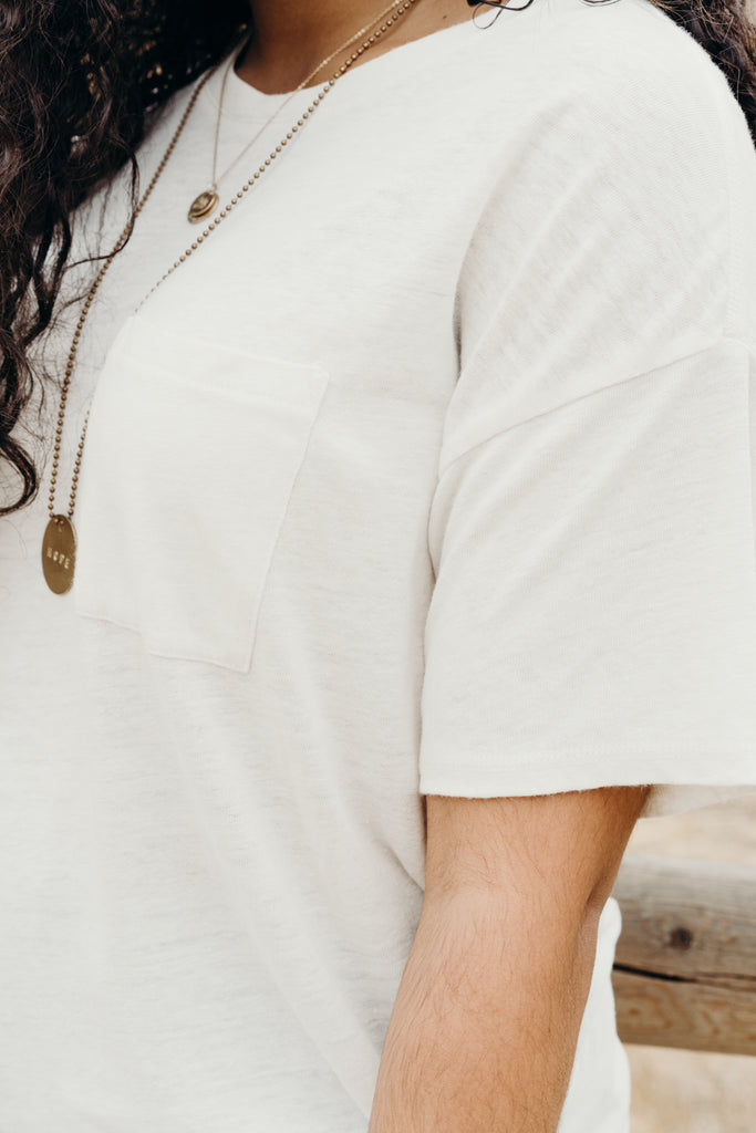 """Addison"" Short Sleeve Top, Ivory"