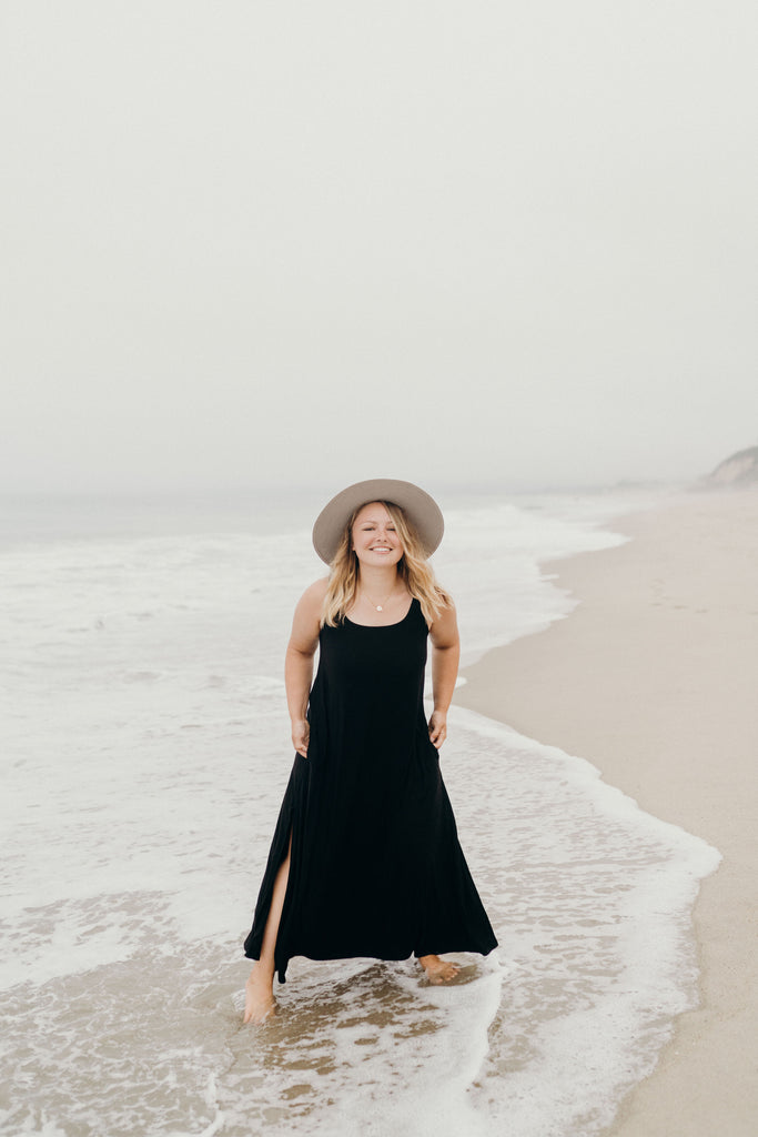 """Sammy"" Wide Strap Maxi Dress, Black"