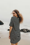 """Skye"" T-Shirt Dress, Black and White"