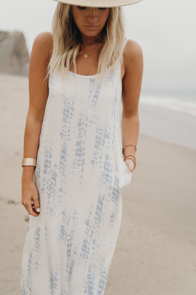 """Presley"" Tie Dye Maxi Dress, Ivory and Blue"