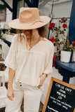 """Rocco"" Flowy Blouse, Cream"