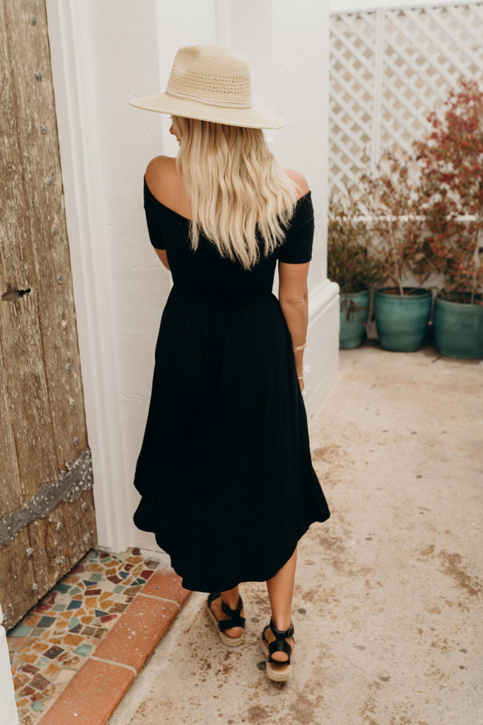 """Callie"" Sleeve Maxi Dress, Black"