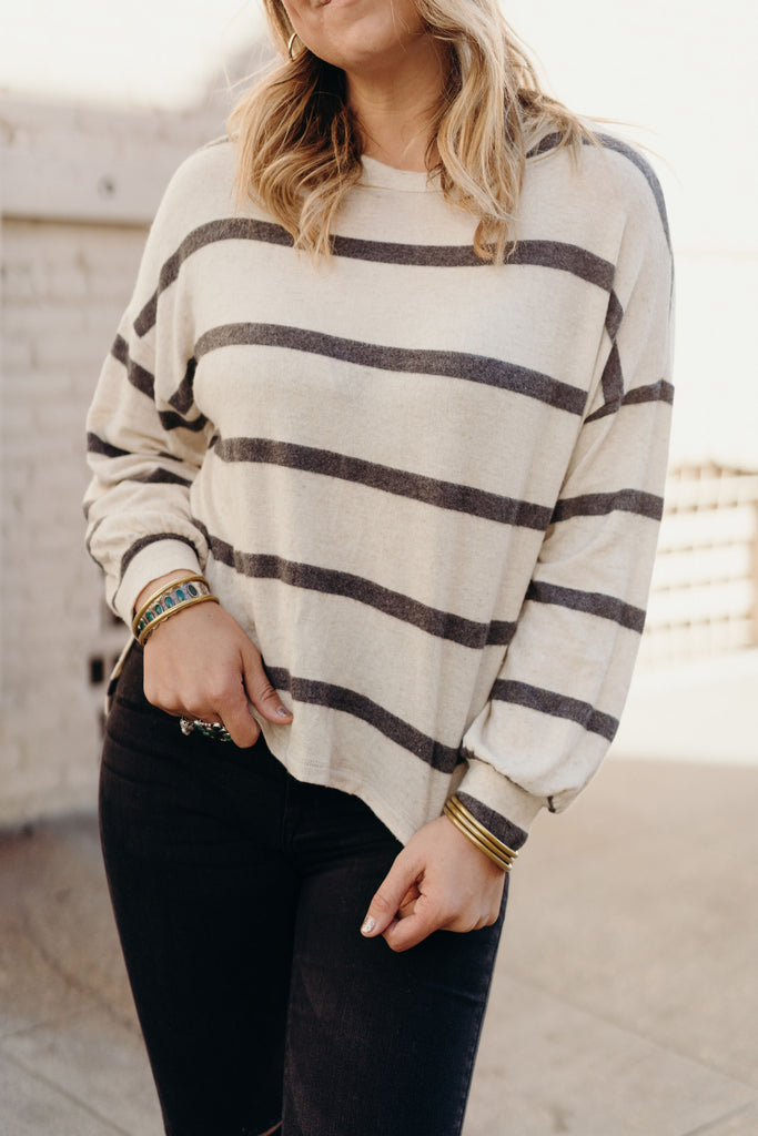 Jayden Pullover Sweater, Cream and Charcoal