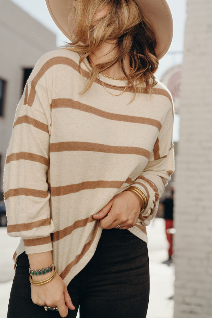 """Jayden"" Pullover Sweater, Cream and Taupe"