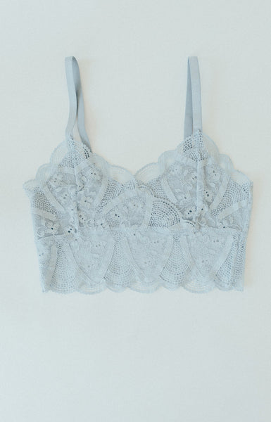 """Sydney"" Lace Cami Bralette, Dusty Blue"