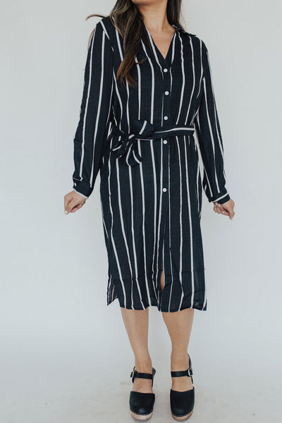 """Simone"" Button Down Dress, Black and Ivory"