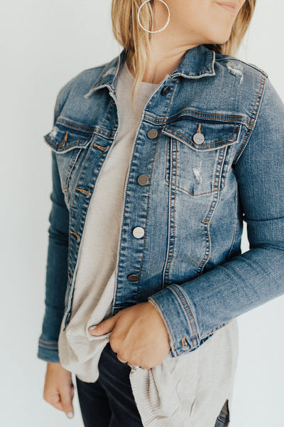 """Jayne"" Denim Jacket, Dark Wash"