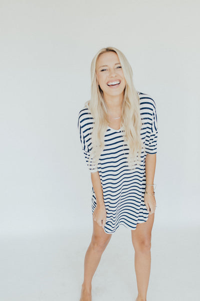 CJ's Favorite T-Shirt Dress, Navy and Ivory