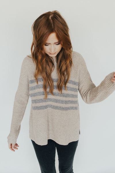 """Sadie"" Crew Neck Sweater, Cocoa"