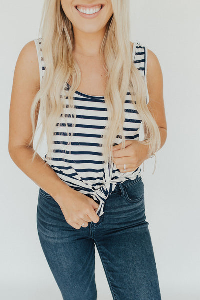 CJ's Favorite Tank, Navy and Ivory