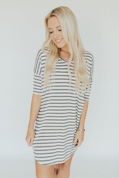 CJ's Favorite T-Shirt Dress, Ivory and Charcoal