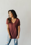 Carly's Favorite V-Neck T-Shirt Tunic, Wine