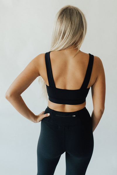 """Whitney"" Cut-Out Sports Bra, Black"