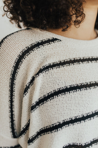 """Carson"" Knit Long Sleeve, Ivory and Black"