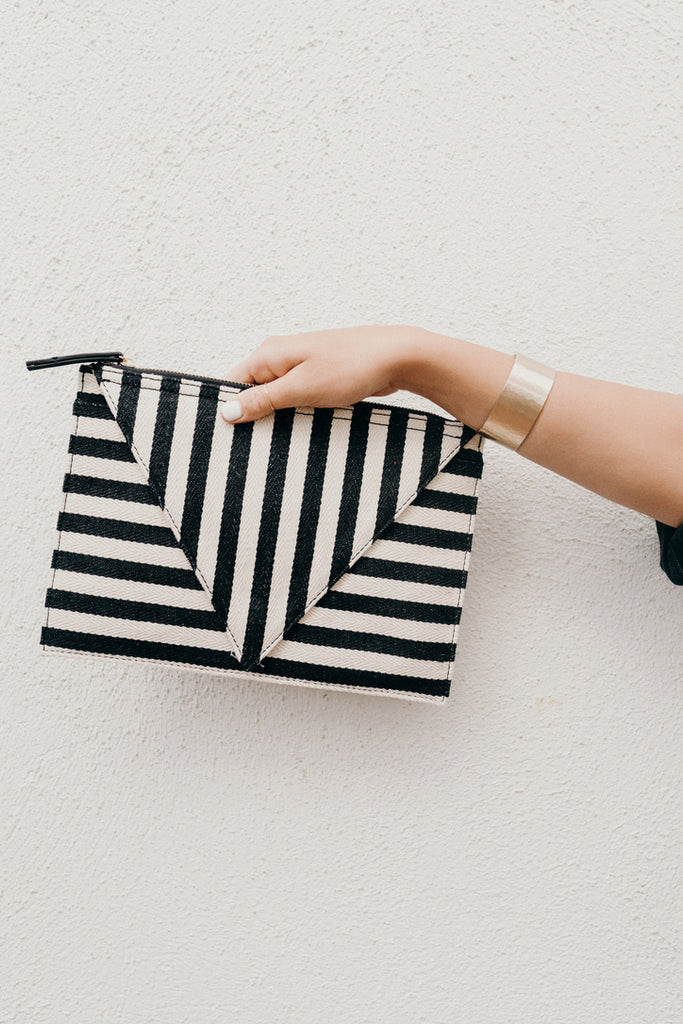 """Valley"" Crossbody Purse, Black and Ivory"