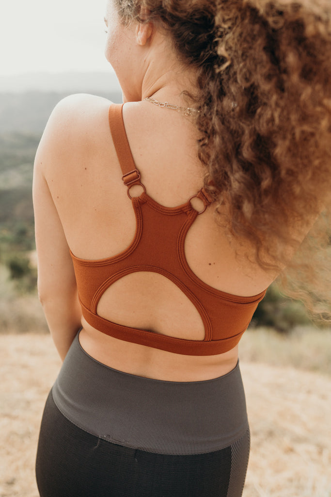 """Andee"" Racerback Sports Bra, Amber"