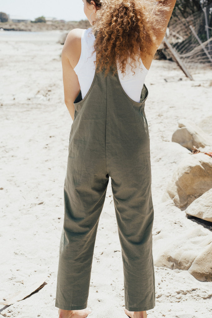 """Leah"" Linen Overall Jumper, Olive"