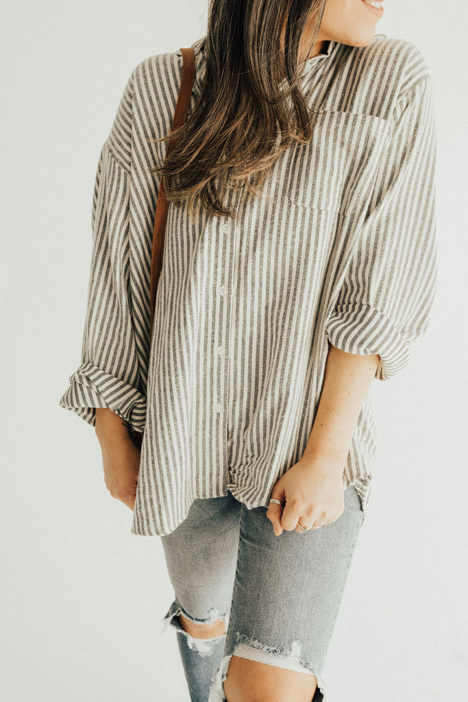 """Taylor"" Striped Oversized Button Up, Cream and Black"